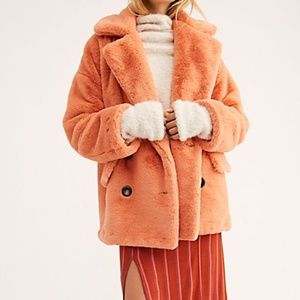 Free People Faux Fur Coat in Peach M NWT